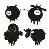 çiftlik hayvanları. — Stok Vektör