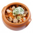 Pork with mushrooms, carrots and onions in a ceramic crock pot, - Stock Photo