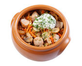 Pork with mushrooms, carrots and onions in a ceramic crock pot, — Stock Photo