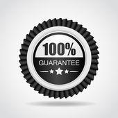 Black label. one hundred percent Guarantee — Stock Vector