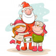 Children and santclaus — 图库矢量图片 #14366737