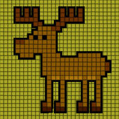 Illustrated deer of squares — 图库矢量图片