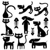 Kediler ve köpekler resmi — Stok Vektör