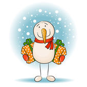 Snowman holding gifts — Stock Vector