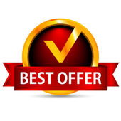 Best offer. Red badge. Vector illustration — 图库矢量图片