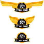 Set of black badge total sale. Vector illustration — Vecteur