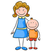Happy family on white background. Mother and son — Stock Vector