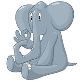 Happy elephant. Vector illustration — Stock Vector