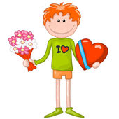 Boy with a big heart box of chocolates and flowers. valentines day — Stock Vector