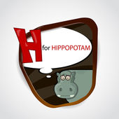 The English alphabet of animal theme. H for Hippopotam. Vector illustration — Stock Vector