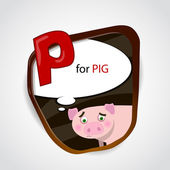 The English alphabet of animal theme. P for Pig. Vector illustration — Stock Vector