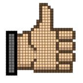 Vector best choice pointers. Pixel art - gesture hand — Stock Vector