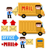 Set of pixel icon. Theme office and mail — Vector de stock
