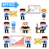 Set of pixel icon. Office theme vector illustration — Stock Vector