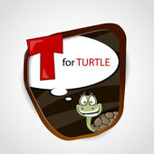 The English alphabet of animal theme. T for Turtle. Vector illustration — Stock Vector