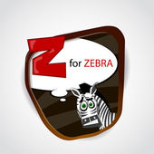 The English alphabet of animal theme. Z for Zebra. Vector illustration — Stock Vector