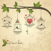 Retro birds in a cage. Vector illustration of Valentines theme — Stock Vector