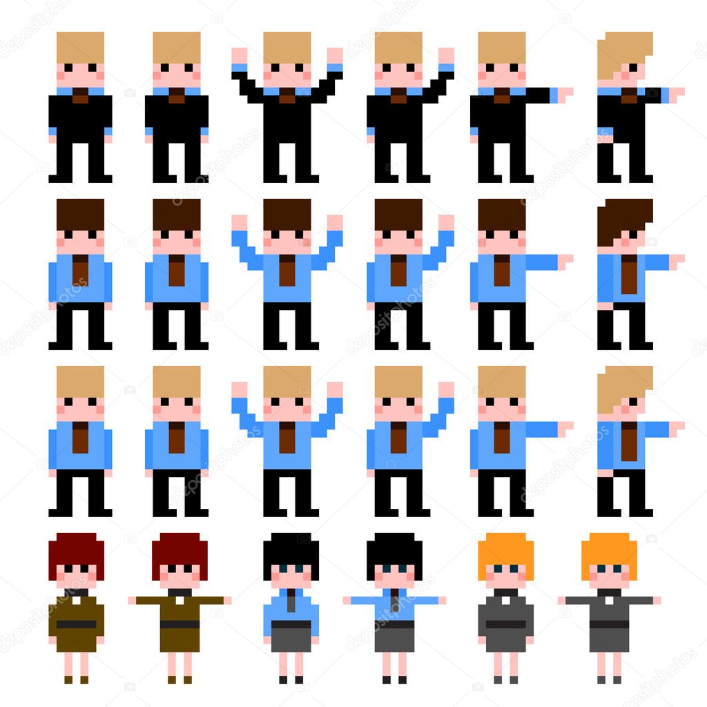 Set of Pixel Art Icons Office