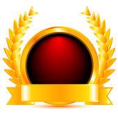 Goldenes Ehrenzeichen mit gold Kranz. Vektor-illustration — Stockvektor