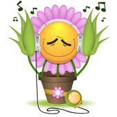 The floret listens to music — Stock Vector