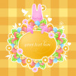 Pink rabbit on Easter theme — 图库矢量图片