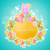 Pink rabbit on Easter theme — Vector de stock