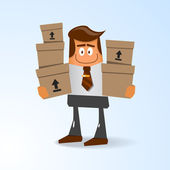 Office the manager with boxes — Stock Vector