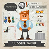 Success secret. Office infografic. Vector illustration — Stock Vector
