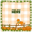 Red cat on a pumpkin field. Vector illustration — Stock Vector