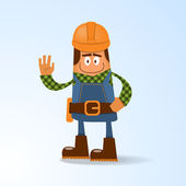 Happy builder. Vector illustration — Stock Vector