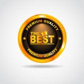 Gold label. Premium Quality. Vector illustration — Stock Vector