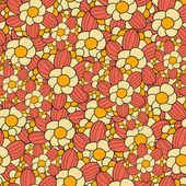 Floral seamless pattern in retro style. Vector illustration — Stock Vector