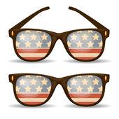 组的太阳镜。美国国旗。矢量插画 — 图库矢量图片
