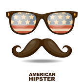Sunglasses and mustaches. American flag. Vector illustration — Stock Vector