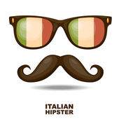 Sunglasses and moustaches. Italian flag. Vector illustration — Stock Vector