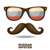 Sunglasses and moustaches. Russian flag. Vector illustration — Stock Vector