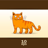 Amusing Red Cat. Vector illustration — Stock Vector