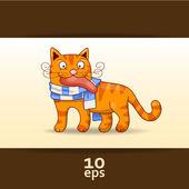 забавные красный кот. векторные иллюстрации — Cтоковый вектор