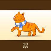 Amusing Red Cat. Vector illustration — Stock Vector