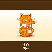 有趣的红猫。矢量插画 — 图库矢量图片