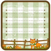 Autumn Background With A Red Cat. Vector illustration — Stock Vector