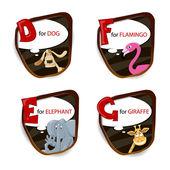 The English alphabet of animal theme. Vector illustration — Stock Vector