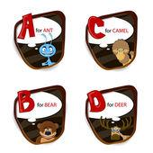 Het engelse alfabet van dier thema. vectorillustratie — Stockvector
