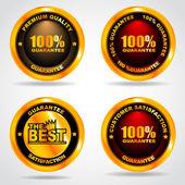 Set of label. Premium quality. 100 percent guarantee. Vector illustration — Stock Vector