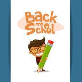 Den glada pojken med en blyertspenna. vektor illustration — Stockvektor