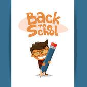 El muchacho alegre con un lápiz. ilustración vectorial — Vector de stock