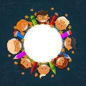 Vector ilustración de niños felices. regreso a la escuela. ilustración vectorial — Vector de stock