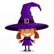 The cheerful girl in a suit of the witch — Stock Vector