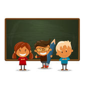 Happy children. Back to school theme. — Stock Vector