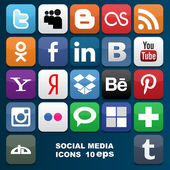Social media icons. Vector illustration — Stok Vektör